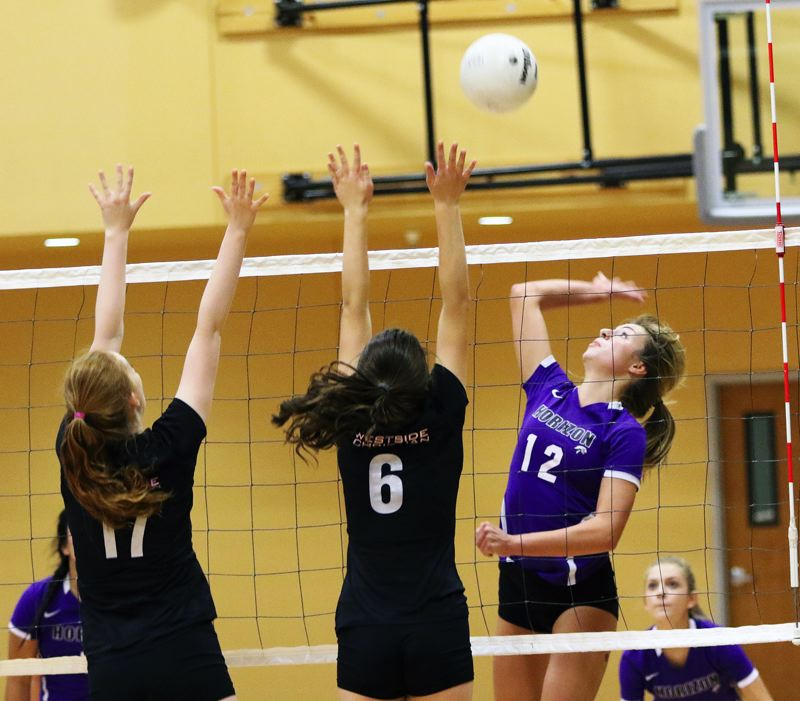 TIMES FILE PHOTO - Horizon Christian senior Lauren Eyerly (right) returns at an outside hitter spot for the Hawks this season.