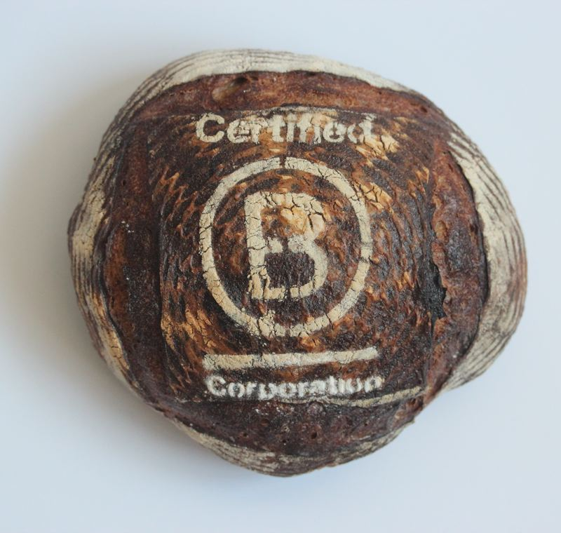COURTESY: GRAND CENTRAL BAKERY  - To celebrate becoming a certified B Corp., Grand Central Bakery is displaying these special loaves this week at its bakery/cafes.