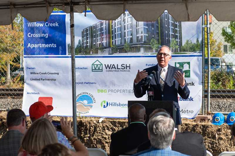 STAFF PHOTO: CHRISTOPHER OERTELL - Hillsboro Mayor Steve Callaway addresses a crowd at the groundbreaking of the Willow Creek Crossing apartments on 185th Avenue and Baseline Street.