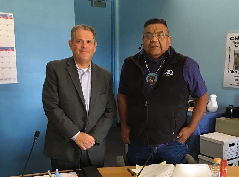 SUBMITTED PHOTO - Mitch Sparks, left, acting director of the Oregon Department of Veterans Affairs, visited with Eugene 'Austin' Greene Jr., the chairman of the Warm Springs Tribal Council, last week. ODVA plans to establish a veteran service office in Warm Springs.