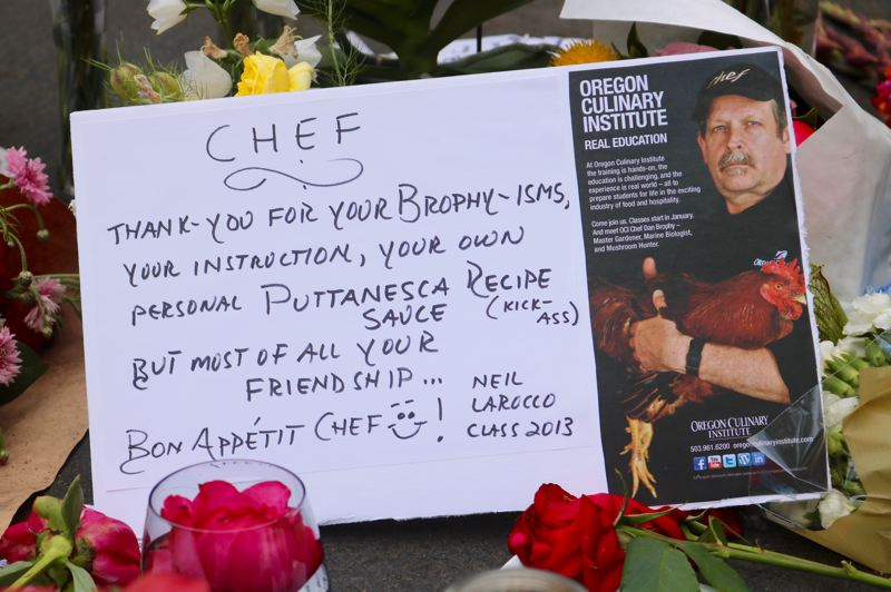 TRIBUNE PHOTO: ZANE SPARLING - This postcard featuring a picture of Chef Daniel Brophy was placed at a candelight vigil for Brophy at the Oregon Culinary Institute in June.