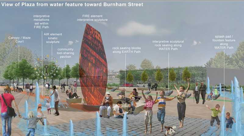 COURTESY OF RESOLVE ARCHITECTS - Heres an architectual rendering of how a downtown plaza would look like.
