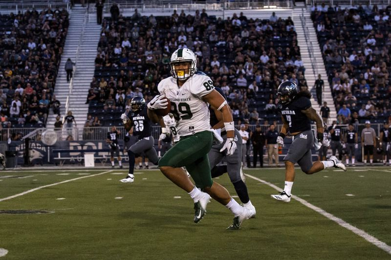 COURTESY: MEGAN CONNELLY - Charlie Taumoepeau of Portland State speeds to a touchdown in last week's game at Nevada.