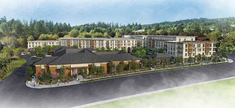ILLUSTRATION COURTESY OF CITY OF LAKE OSWEGO - CenterCal Properties and Trammell Crow won tentative approval Sept. 5 to build a mixed-use development at the corner of Kruse Way and Boones Ferry Road, with 208 apartments and 50,000 square feet of retail space. This view looks west across Boones Ferry Road; Kruse Way is at right, Mercantile Drive at left.