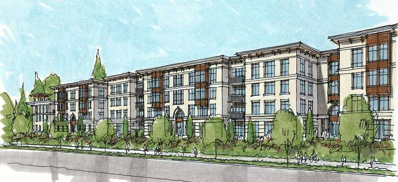 ILLUSTRATION COURTESY OF CITY OF LAKE OSWEGO - DRC Commissioner Paden Prichard cited the massing of the proposed Mercantile Village development, particularly on the side facing Kruse Way, as one of his reasons for opposing the project.