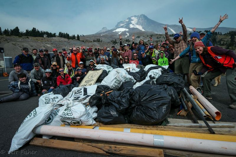 CONTRIBUTED PHOTO: SANDY RIVER WATERSHED COUNCIL - More than 100 volunteers participated in the 2017 Salmon Headwaters Cleanup at Timberline Lodge, recovering 4 tons of trash.