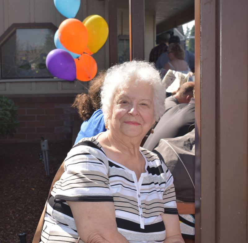 OUTLOOK PHOTO: TERESA CARSON - Barbara Lloyd, a Heidis regular waiting to get in for the anniversary celebration, said she has never had a meal at the restaurant that wasnt wonderful.