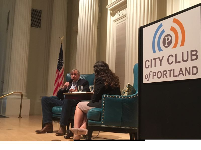 PAMPLIN MEDIA GROUP: PETER WONG - U.S. Sen. Jeff Merkley speaks at the Friday Forum of the City Club of Portland. The Oregon Democrat was interviewed by Marissa Madrigal, Multnomah County's chief operating officer and a City Club board member.