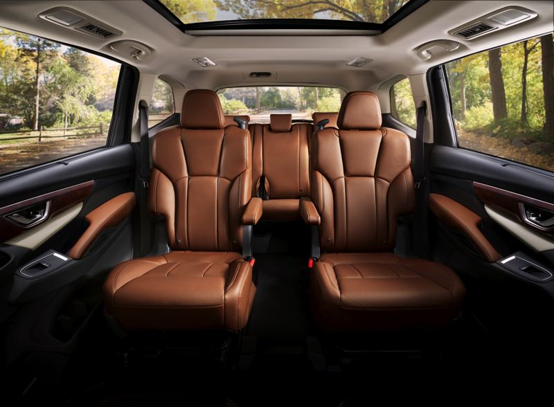 SUBARU OF AMERICA - Available Captains Chairs for the second row of seats are comfortable and make reaching the large third row easy.