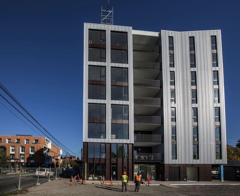 PAMPLIN MEDIA GROUP: FILE - Construction on Carbon12, a mass-timber building in Portland, was completed earlier this year.
