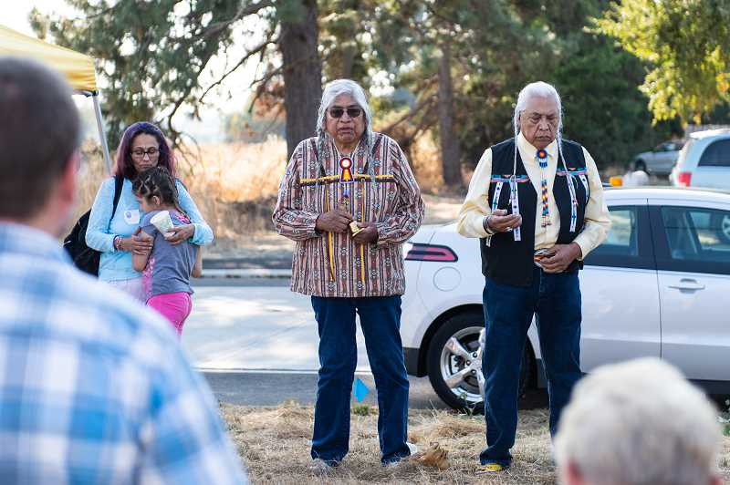 STAFF PHOTO: CHRISTOPHER OERTELL - Nez Perce elders Charles Axtell and Silas Whitman performed a ceremony around the believed burial site Wednesday, Sep. 5.