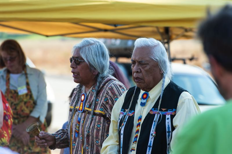 STAFF PHOTO: CHRISTOPHER OERTELL - Charles Axtell and Silas Whitman traveled from Idaho to perform parts of a traditional Nez Perce burial ceremony.