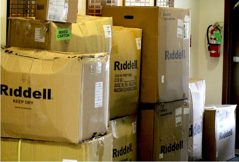 "STEELE HAUGEN - The Riddell football equipment arrived the day the ""18 in 18' grant winners were announced, Sept. 5."