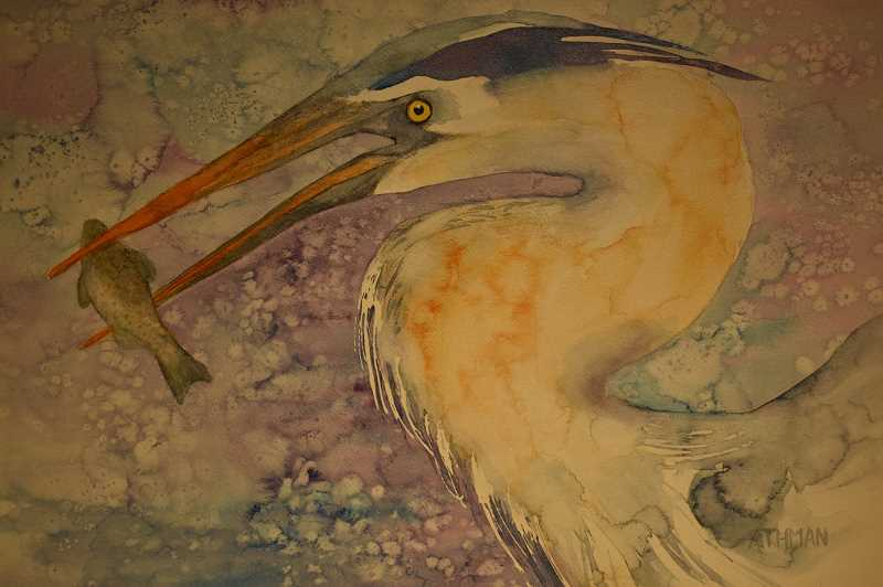 ESTACADA NEWS PHOTO: EMILY LINDSTRAND - 'Heron Fishing' is one of the pieces in Connie Athman's September show at the Spiral Gallery, 'All A Flutter.'