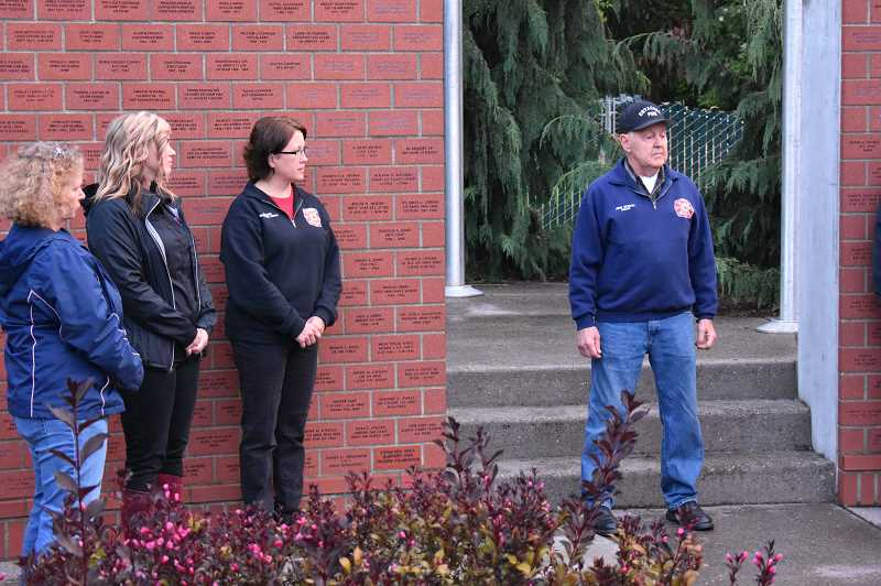 ESTACADA NEWS PHOTO: EMILY LINDSTRAND - Community members listen as John McAdoo shares his memories of the Sept. 11, 2001, terrorist attacks on New York, Washington, D.C., and United Airlines Flight 93 that crashed in Pennsylvania.