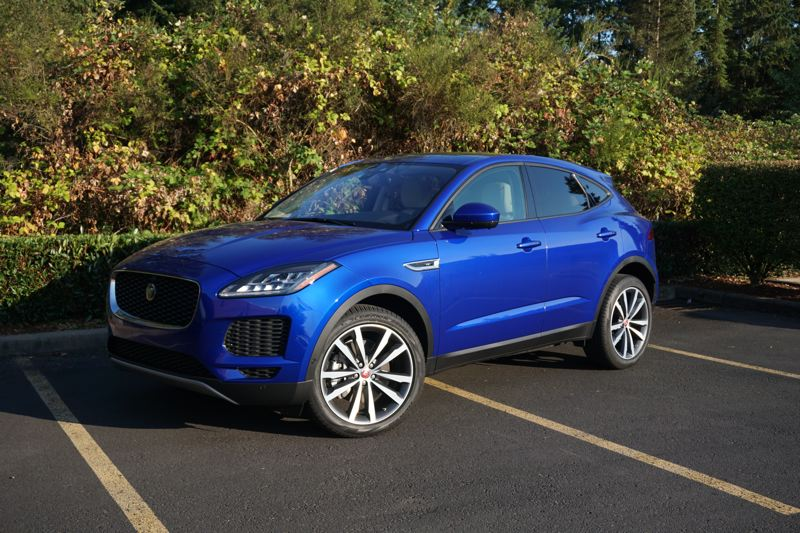 PORTLAND TRIBUNE: JEFF ZURSCHMEIDE - The 2018 Jaguar E-Pace is a luxury compact crossover SUV that is available with two versions of a powerful turbocharged 2.0-liter engine.