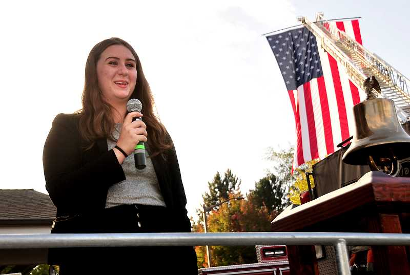 TIDINGS PHOTO: VERN UYETAKE - West Linn High School junior Anya Blankenship gives a youth perpective.