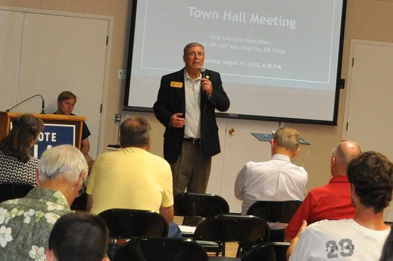 PHOTO: BLAIR STENVICK - Rep. Rich Vial, of Oregon's House District 26, speaks to constituents at a August town hall in King City.