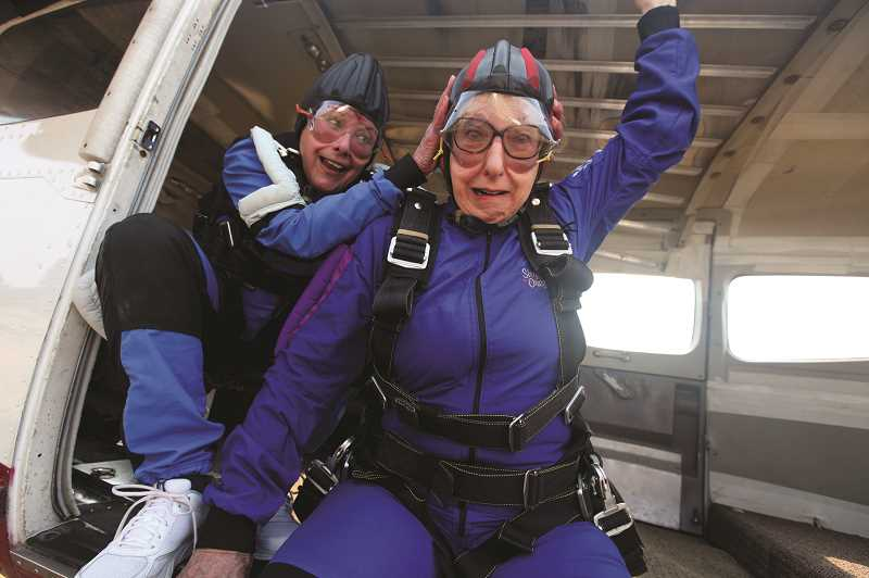 COURTESY PHOTO - Marilyn, played by Anita Sorel, hopes to scare Abby, played by Randi Douglas as they get ready to skydive in 'Ripcord.'