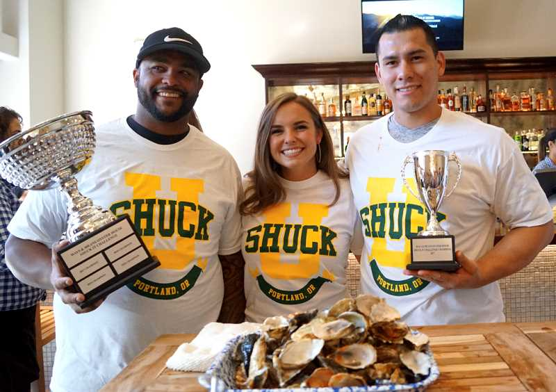 SUBMITTED PHOTO  - Attend the second-annual oyster eating contest Sept. 15 at Ways and Means Oyster House in Bridgeport Village. Teams from Lake Oswego Police and Tualatin Valley Fire & Rescue are competing against Beaverton Police Department.