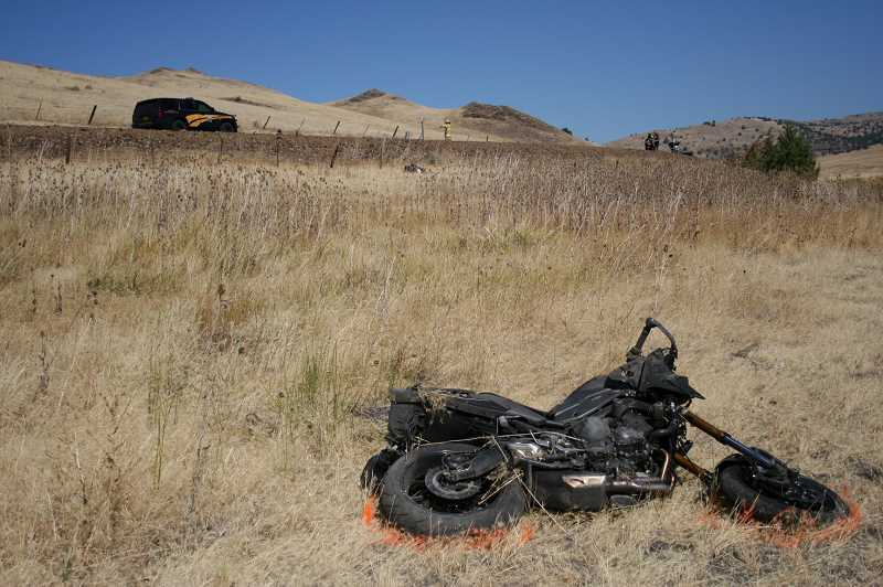 SUBMITTED PHOTO: OREGON STATE POLICE - Oregon State Police troopers say Gabriel Spaccarelli died when his motorcycle left Highway 218 and crashed in a field near Antelope.