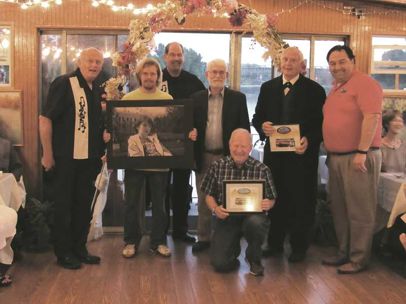 COURTESY PHOTO - Showing off their awards, from the left are Rivers of Life Center President Jerry Herrmann, history interpreter Joshua Beckham, Oregon SenateAires president Bob Cox, Salem Mayor Chuck Bennett, Golden Glow winners John Borden and history re-enactor Larry McIntyre and Canby Mayor Brian Hodson.