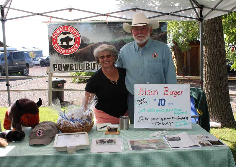 HOLLY SCHOLZ/CENTRAL OREGONIAN  - Bev and Steve Oberg hosted a Crooked River Open Pastures pop-up farmers market last Saturday at their bison ranch in Powell Butte. They sell sample boxes, which include steak, roast, burger, stew meat, osso bucco and a short rib package for two people.