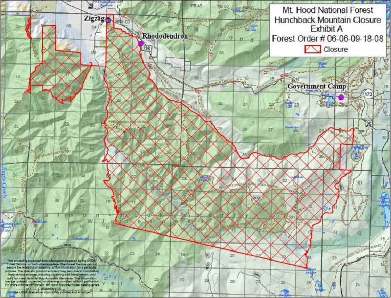 CONTRIBUTED PHOTO: U.S. FOREST SERVICE - A map of the area closed by the U.S. Forest Service while the search for a cougar continues.