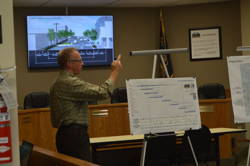 SPOTLIGHT PHOTO: NICOLE THILL-PACHECO - Matt Hastie, a consultant with Angelo Planning Group, speaks during a public presentation Tuesday, Sept. 11. Hastie helped present a series of preferred design images and plans for future designs of roadways that could connect to the citys waterfront.