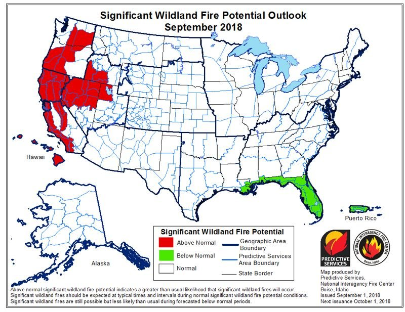 GRAPHIC COURTESY OF THE NATIONAL INTERAGENCY COORIDINATION CENTER - This graphic created by National Interagency Cooridination Center show thThis graphic created by National Interagency Coordination Center show the outlook for fire potential across the county. The data in these predictive maps is available to help inform fire management decision-makers the NICC website states.  outlook for fire potential across the county. The data in these predictive maps is available to help inform fire management decision-makers the NICC website states.