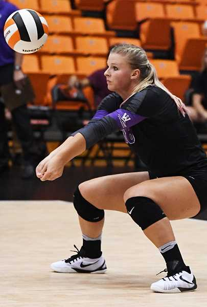 LON AUSTIN/CENTRAL OREGONIAN - Hannah Troutman passes a ball during a college match against Oregon State in 2016. Troutmant has signed a contract to play professional volleyball in Sweden.