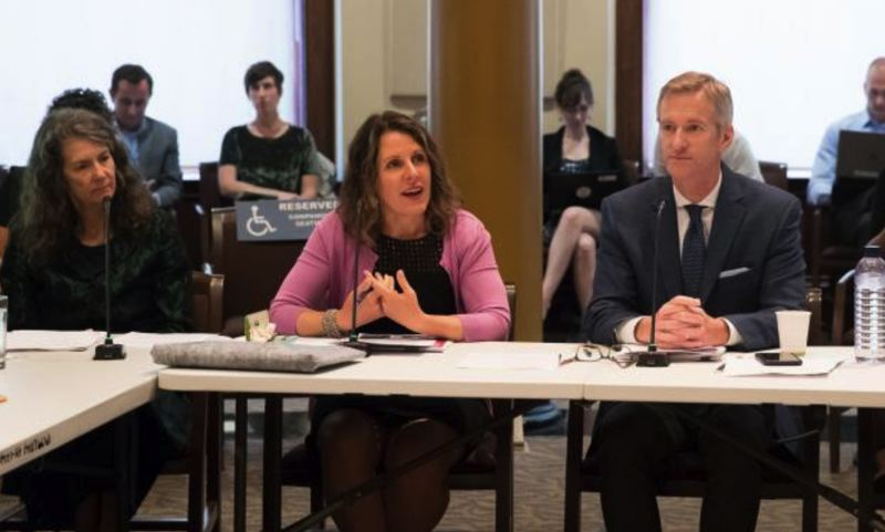 COURTESY MULTNOMAH COUNTY - Multnomah County Chair Deborah Kafoury and Mayor Ted Wheeler are shown here at a joint work session held at Portland City Hall on Tuesday, Sept. 11.