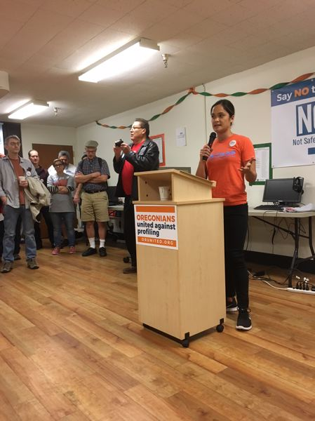PAMPLIN MEDIA GROUP: PETER WONG - Andrea Williams, leader of the No on 105 campaign, speaks at a rally prior to volunteers canvassing Portland households on Saturday, Sept. 15
