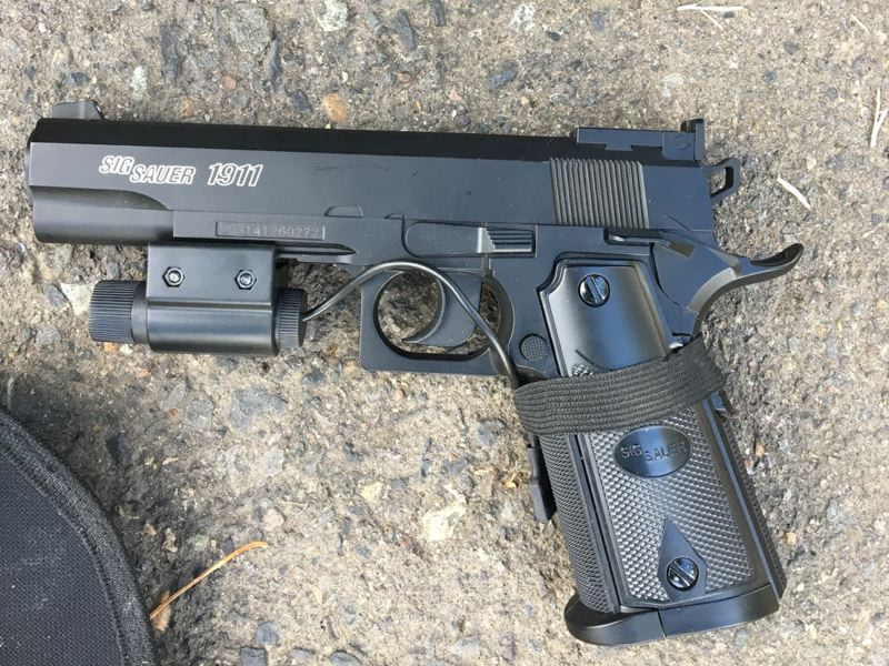 PPB PHOTO - Portland Police released this photo of the replica firearm they claim Livermore was carrying.