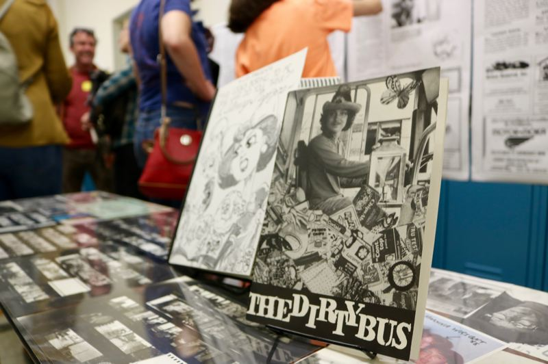TRIBUNE PHOTO: ZANE SPARLING - A copy of 'The Dirty Bus' is displayed during the 50th anniversary celebration of Metropolitan Learning Center in Portland.