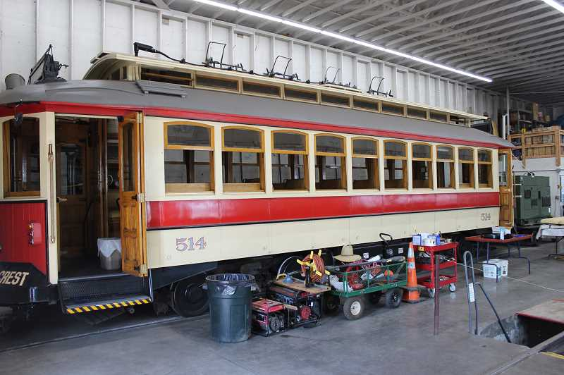 REVIEW PHOTO: ANTHONY MACUK - Trolley 514 sits in the Lake Oswego car barn. Once the funding is in place, 514 will be converted to a battery-powered vehicle with new motors.