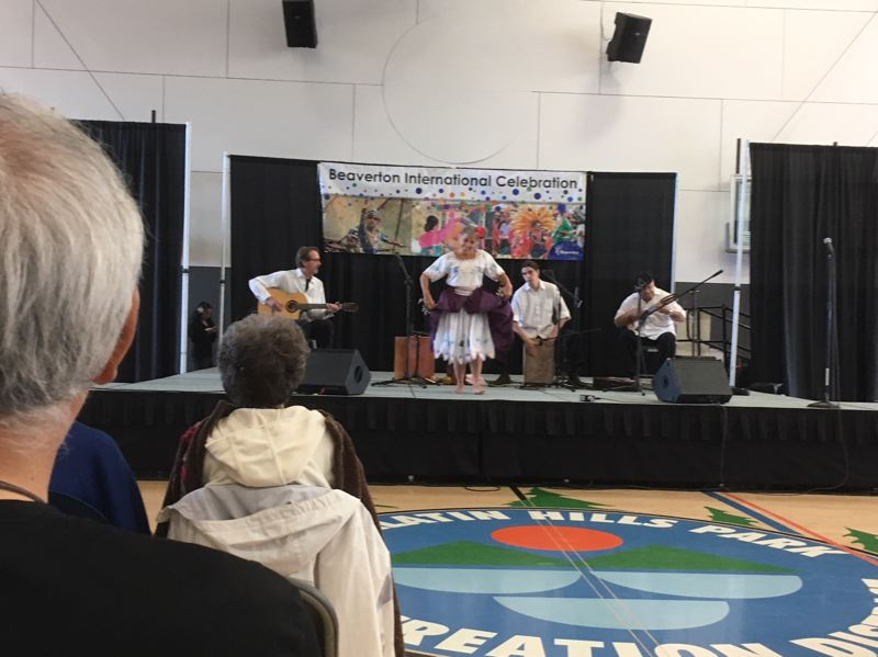 TIMES PHOTO: PETER WONG - Inka Jam performs music from Peru as part of the Beaverton International Celebration, which took place Saturday at Conestoga Recreation Center. From left, J.B. Butler, Luciana Proaño, Alex Lumiquinga, Tito Amaya.
