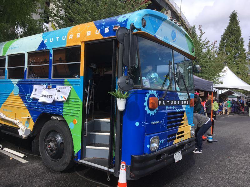 TIMES PHOTO: PETER WONG - The Future Bus is a familiar sight at Beaverton schools, where it has been for the past two years. But it made its debut last weekend at the Portland Mini Maker Faire, where more than 120 exhibitors showed up at the Oregon Museum of Science and Industry in Portland.