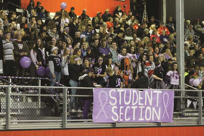 PIONEER FILE PHOTO: CONNER WILLIAMS - Molalla High School's student section was decked out in lavender for Lavender Week 2017.