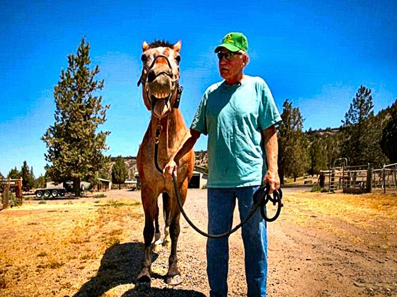 JAIME VALDEZ - Major smiles for the camera, while going on a walk with Larry Kanzler in Prineville. Larry, and his wife Cheryl, both retired from the Portland Police Bureau, and bought Major - a former member of the Portland Police Mounted Patrol downtown.