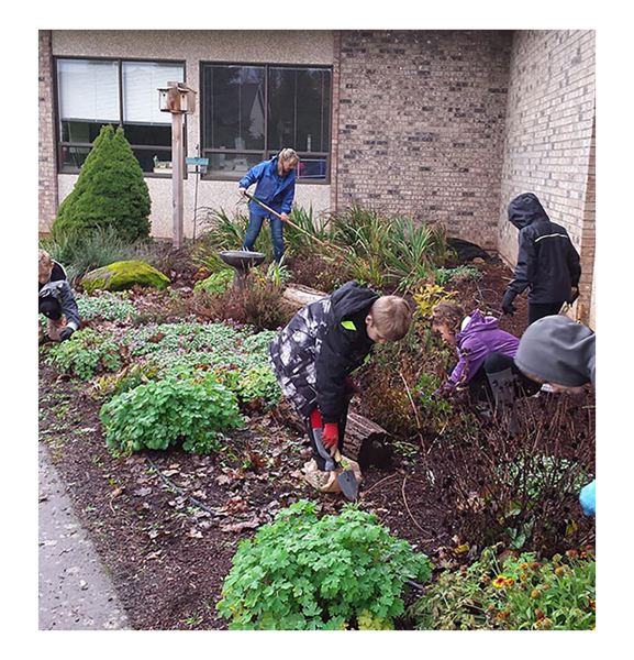 PHOTO COURTESY: MICHAEL CLARK - The Green Team at McLoughlin Elementary helped design and create a school garden that provides habitat for wildlife.