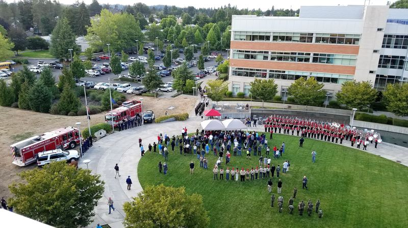 CLACKAMAS COUNTY - An overhead view of the Sept. 11 ceremony at Clackamas County's Red Soils campus in Oregon City.