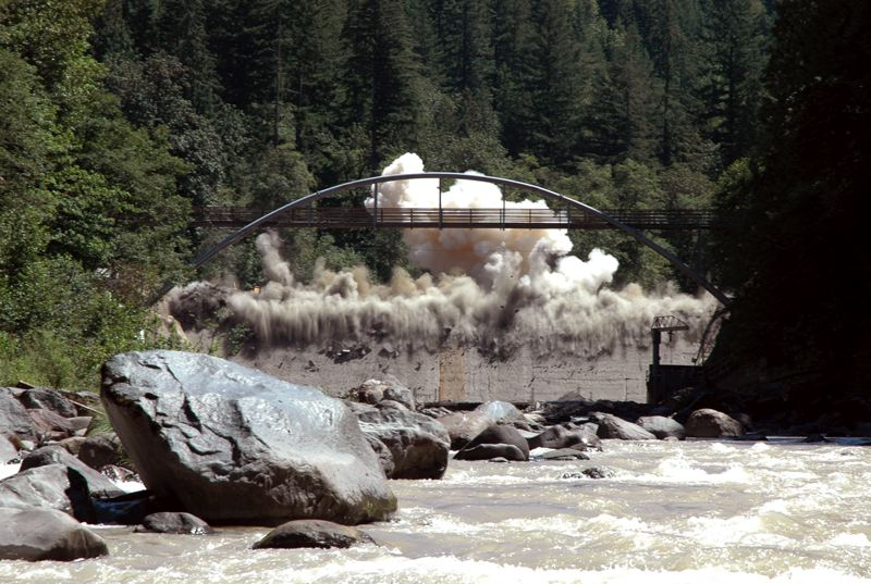 CONTRIBUTED PHOTO: OREGON DEPARTMENT OF FISH AND WILDLIFE  - Marmot dam is demolished in 2007. The removal of the dam was one step in returning the river to a free-flowing river.