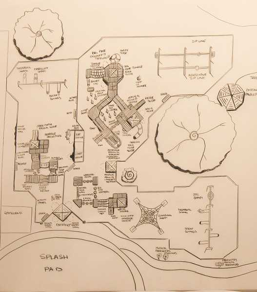 PHOTOS COURTESY OF LINDA HADEN - The early design features ideas that local students would like to see in a playground.