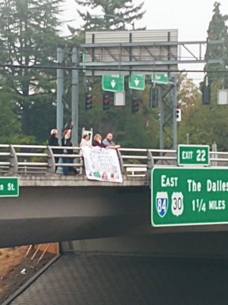 COURTESY MONTAVILLA INITIATIVE - The protest regarding livability issues in Montavilla was held during rush hour traffic on Monday, Sept. 17.