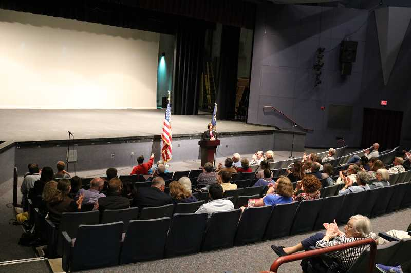 COURTESY OF NATALIE CROFTS - U.S. Rep. Suzanne Bonamici talks about the work shes doing in Washington, D.C., during a Town Hall meeting at Tualatin High School.
