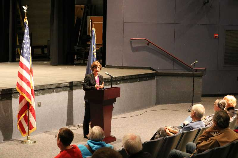 COURTESY OF NATALIE CROFTS - U.S. Rep. Suzanne Bonamici discussed immigration, health care, earthquake, the Trump administration and other issues during a Town Hall meeting at Tualatin High School Monday.