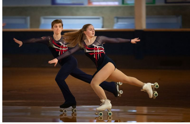 TRIBUNE PHOTO: JONATHAN HOUSE - Annie MacKay and David Hamblin have been skating together since they learned how to walk, and they've remained together as 'best friends' and cousins. Says Hamblin: 'Annie literally took her first steps toward me.'