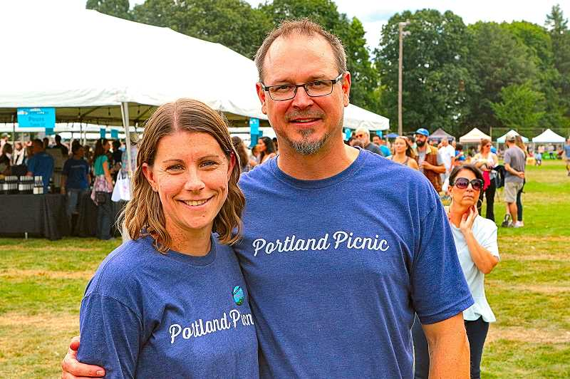 DAVID F. ASHTON - Pausing for a BEE photo were the Portland Picnics organizers, Emily and Travis Motter.