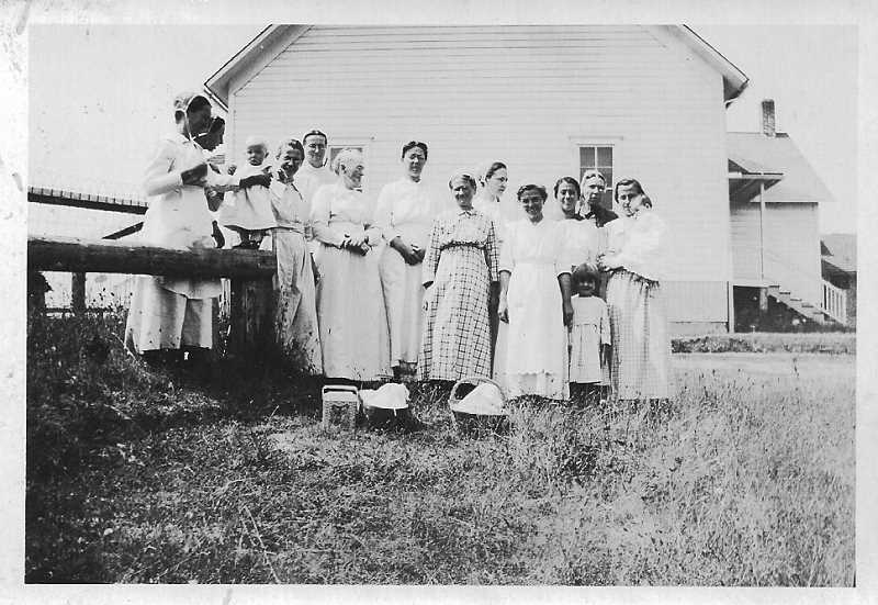 COURTESY PACIFIC NORTHWEST MENNONITE HISTORICAL SOCIETY - Zion Mennonite Church started out in members' homes before the white wooden building was constructed and dedicated in 1898